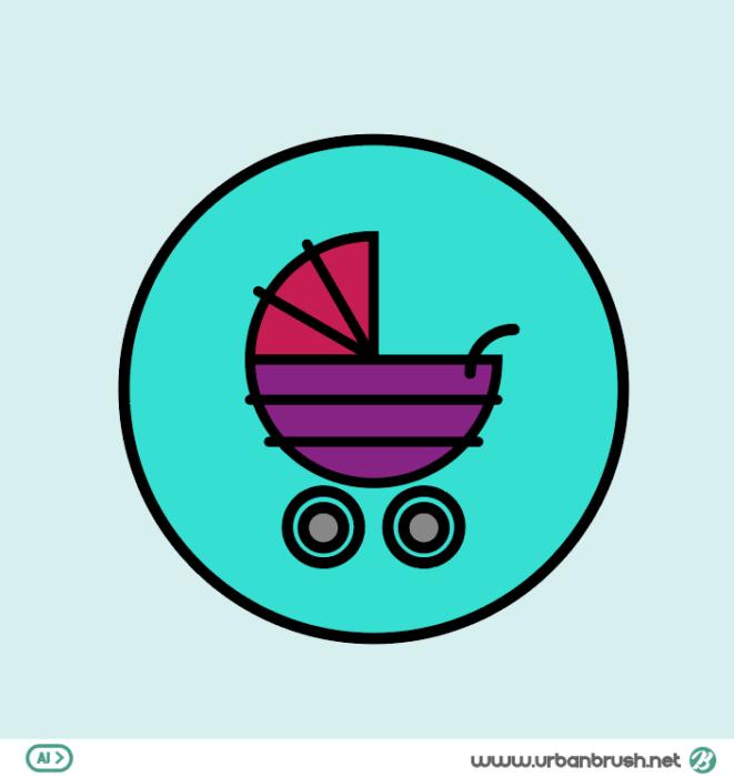 Stroller Icon Illustration Ai Free Download 이미지 사용약관 확인 및 소스 다운로드는 어반브러시 홈페이지를 이용하세요 어반브러시 무료일러스트 일러스트레이션 디자이너타미 이미지소스 일러스트아이디어 패턴 이 유모차 아이콘 배너