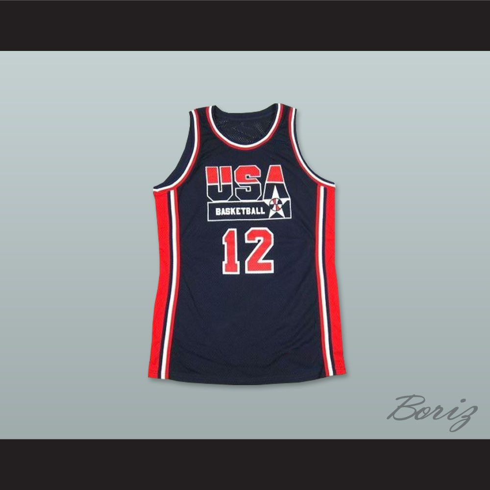 1992 John Stockton 12 USA Team Away Basketball Jersey. STITCH SEWN GRAPHICS  CUSTOM BACK NAME 6c1793036