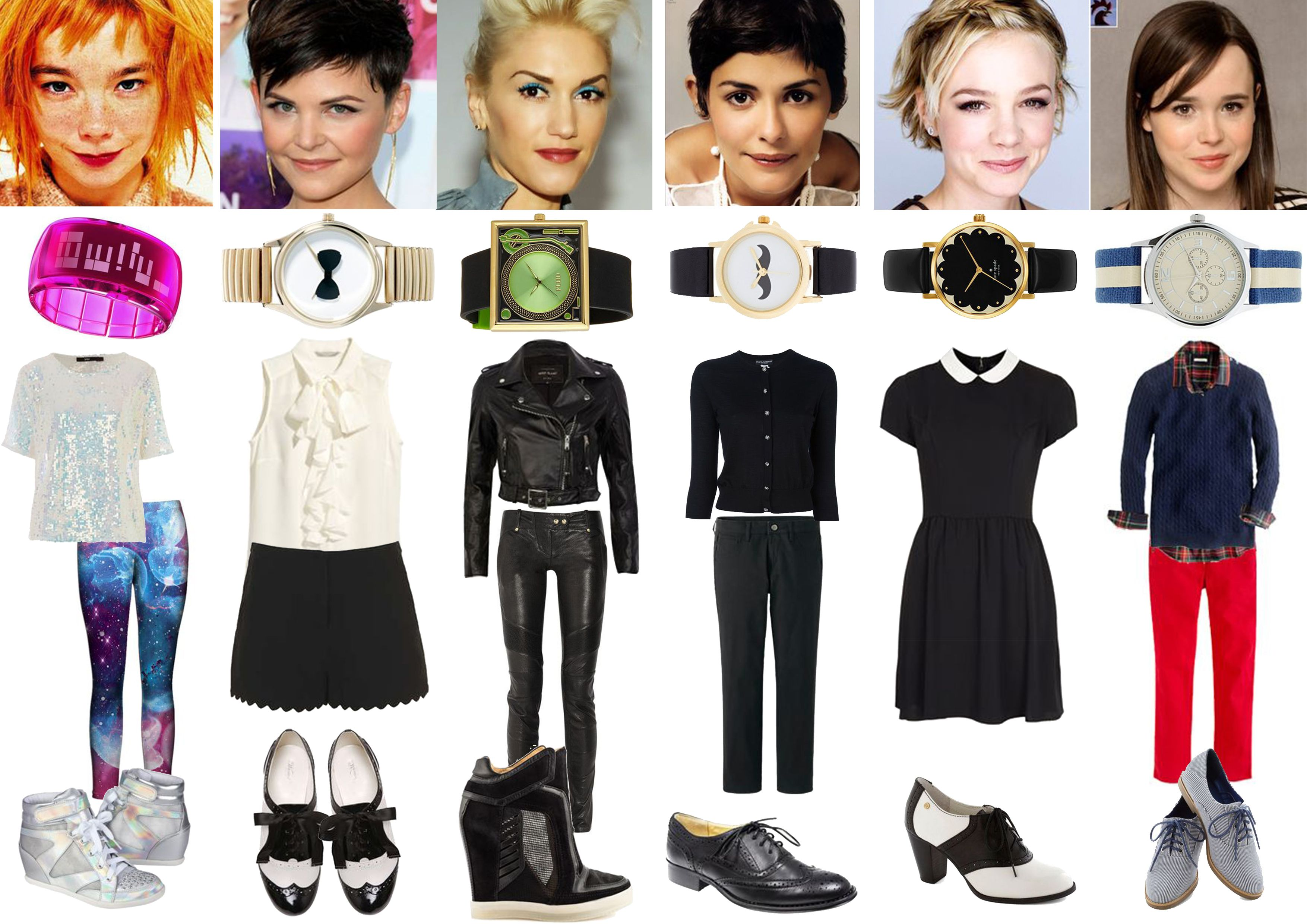 Image & Style Identity Cheat Sheet 007 Gamines - Ethereal Gamine - Bjork, Romantic Gamine - Ginnifer Goodwin, Dramatic gamine - Gwen Stefani, my guess for Classic Gamine - Audrey Tautou, my guess for Gamine Ingenue - Carey Mulligan, Natural Gamine - Ellen Page.