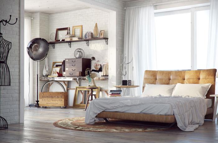 industrieel landelijk slaapkamer heerlijk zonnig wakker worden