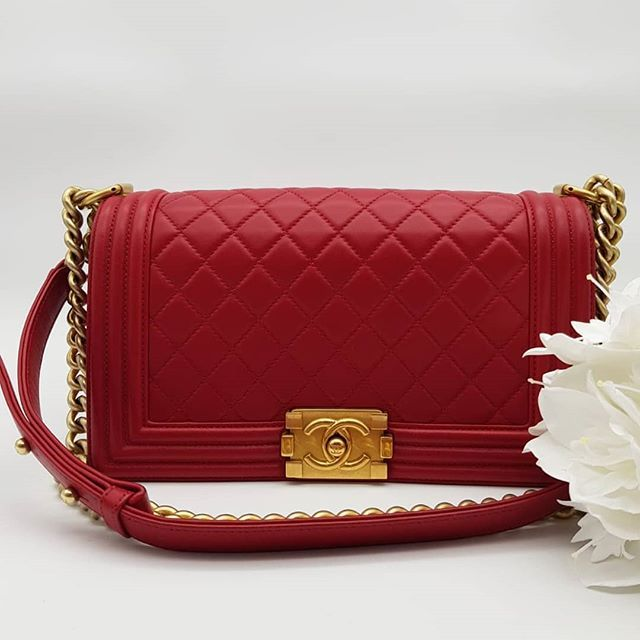 d662f89e6bb9 Preloved Chanel Boy Medium Red Lambskin Brushed Gold Hardware Serial code  starting with 231. Comes with dustbag and authenticity card.