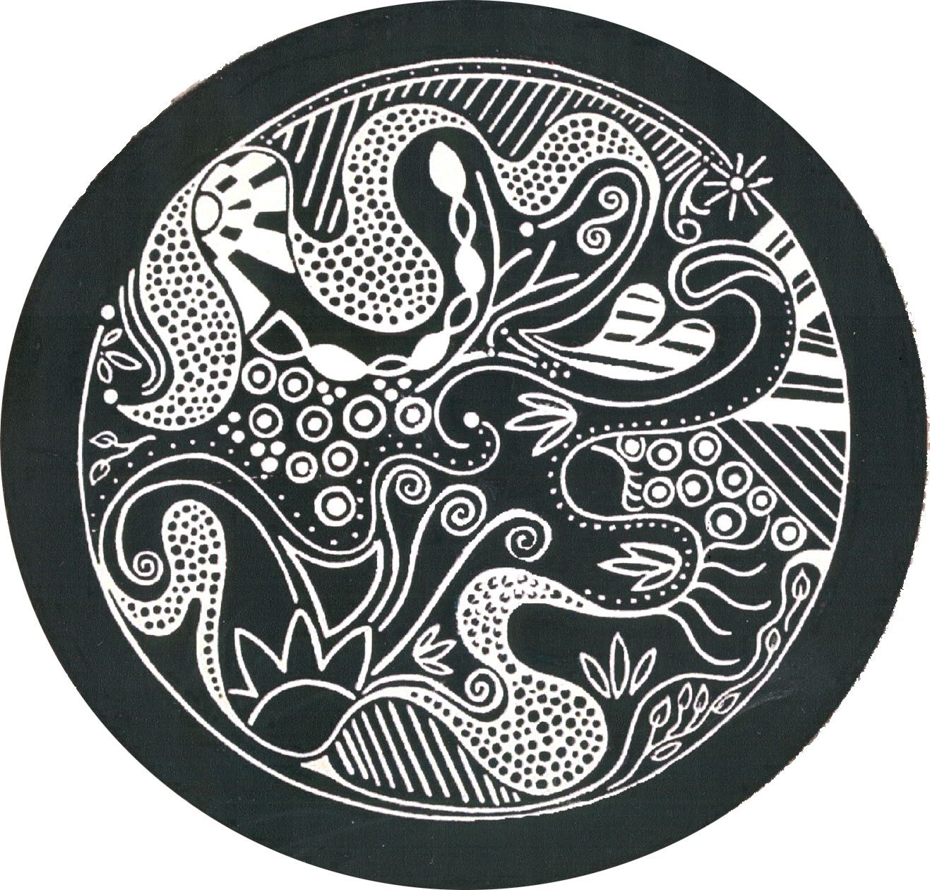 black and white plate sgraffito by Kelly Sieckhaus