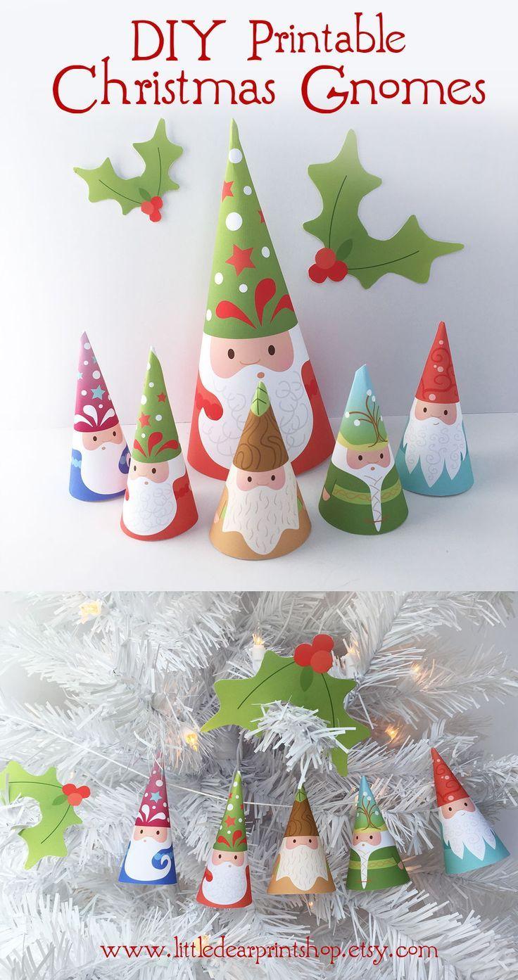 Christmas Gnomes Pinterest.Printable Woodland Gnomes Diy Art Santa Claus Garland