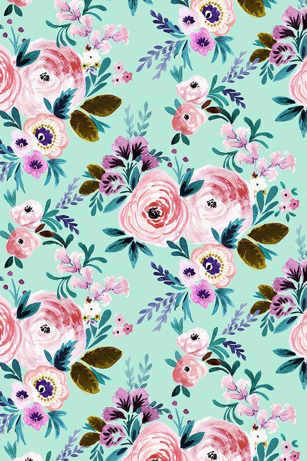 Victorian floral mint by crystalwalen hand painted rose and pink victorian floral mint by crystalwalen hand painted rose and pink flowers on fabric wallpaper mightylinksfo