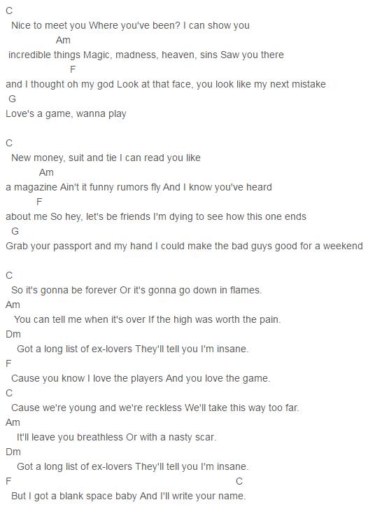 1989, Taylor Swift Blank Space Chords Lyrics for Guitar Ukulele ...
