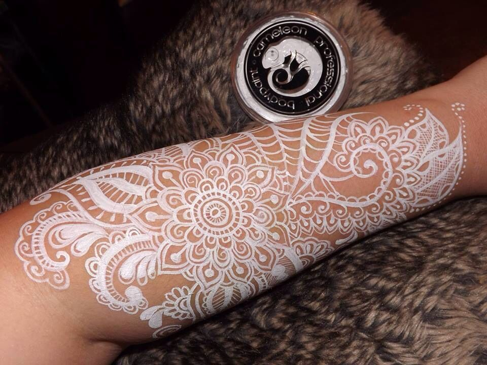 Mehndi Lace Tattoo : Debz faces white cameleon face paint lace design body