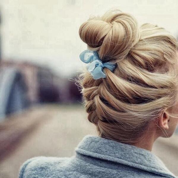 Sweet back braid bun and bow