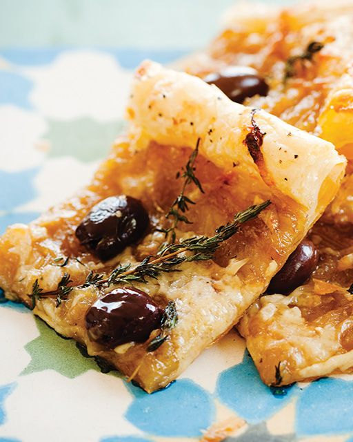 Caramelized Onion Olive Puff Pastry Tart