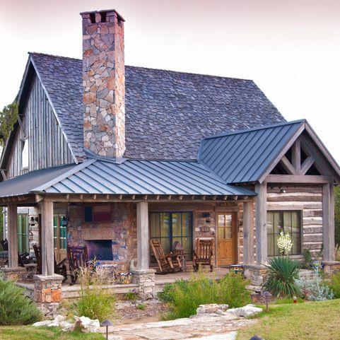 I Really Like Mixing Roof Materials Modern Farmhouse Exterior House Exterior Stone Cabin