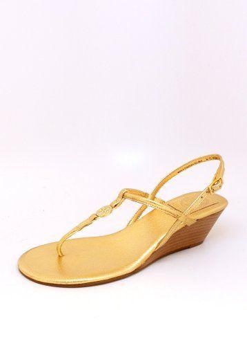 7dfab0ba6 Tory Burch Emmy Demi Wedge Thong Sandal in Gold Tory Burch.  250.00 ...