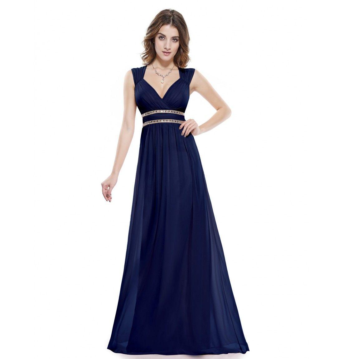 Dunkel Blau V-Ausschnitt Elegant Lang Empire Abendkleid | Kleider ...