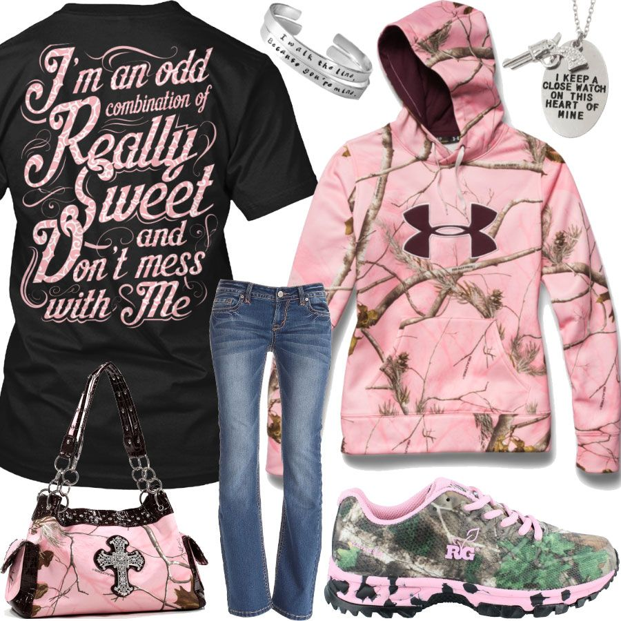 I'm An Odd Combination Under Armour Pink Camo Hoodie Outfit - Real Country Ladies