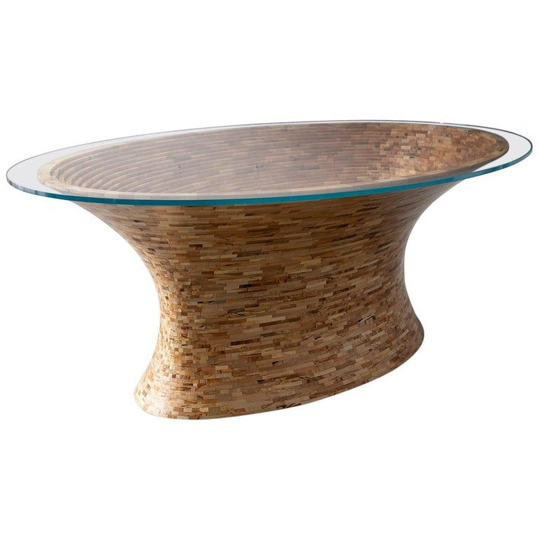Richard Haining Coffee / Cocktail Table – Stacked Spalted Oval Available Now American Modern Marble, Ceramic, Pottery, Glass, Smoked Glass, Wood, Hardwood, Cherry, Mahogany, Maple, Oak, Walnut, Reclaimed Wood, Scrap Wood