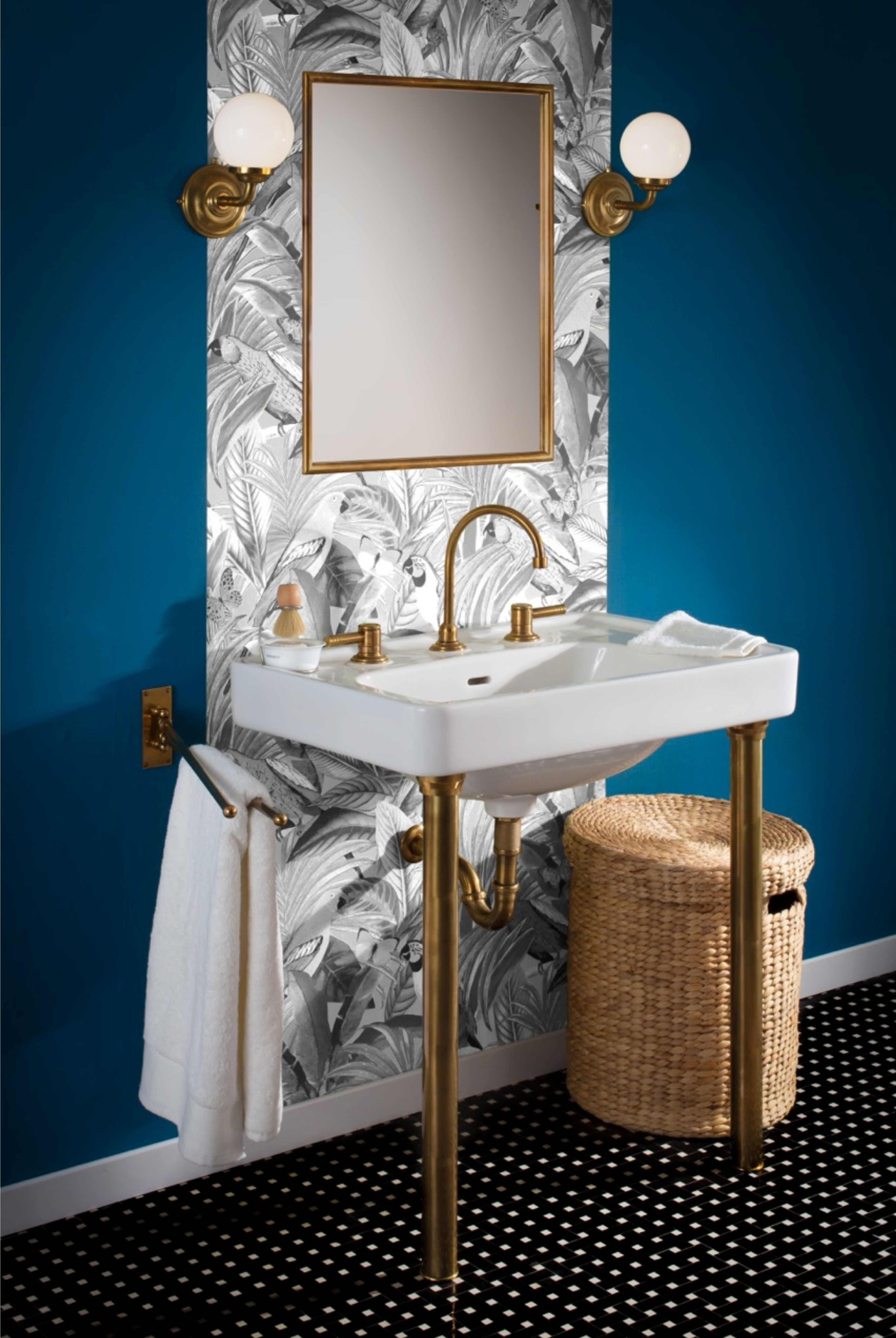 Herbeau Art Deco console sink +faucet with brass legs | Herbeau ...