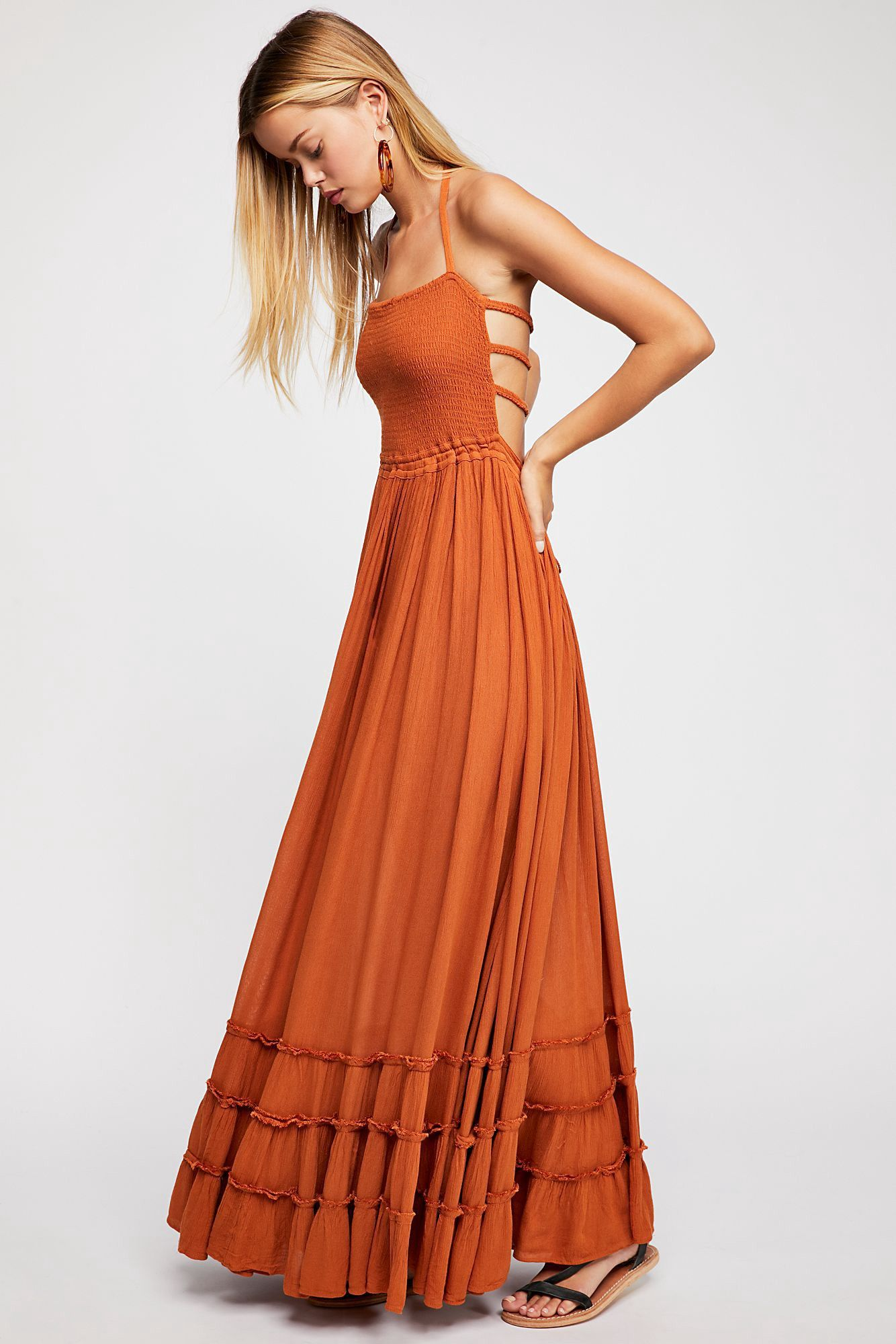 4708809c212f Crinkly strapless maxi dress, made from our sheer and gauzy Endless Summer  fabric, with a stretchy smocked bodice, halter neck tie, and low strappy  back.