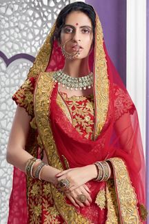 fe88bce2aded Show details for Astounding red bridal lehenga with zari | wedding ...