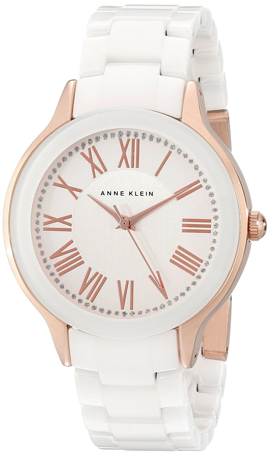 Anne Klein Women's AK/1948WTRG Rose Gold-Tone and White Ceramic Bracelet Watch >>> Click image to review more details.
