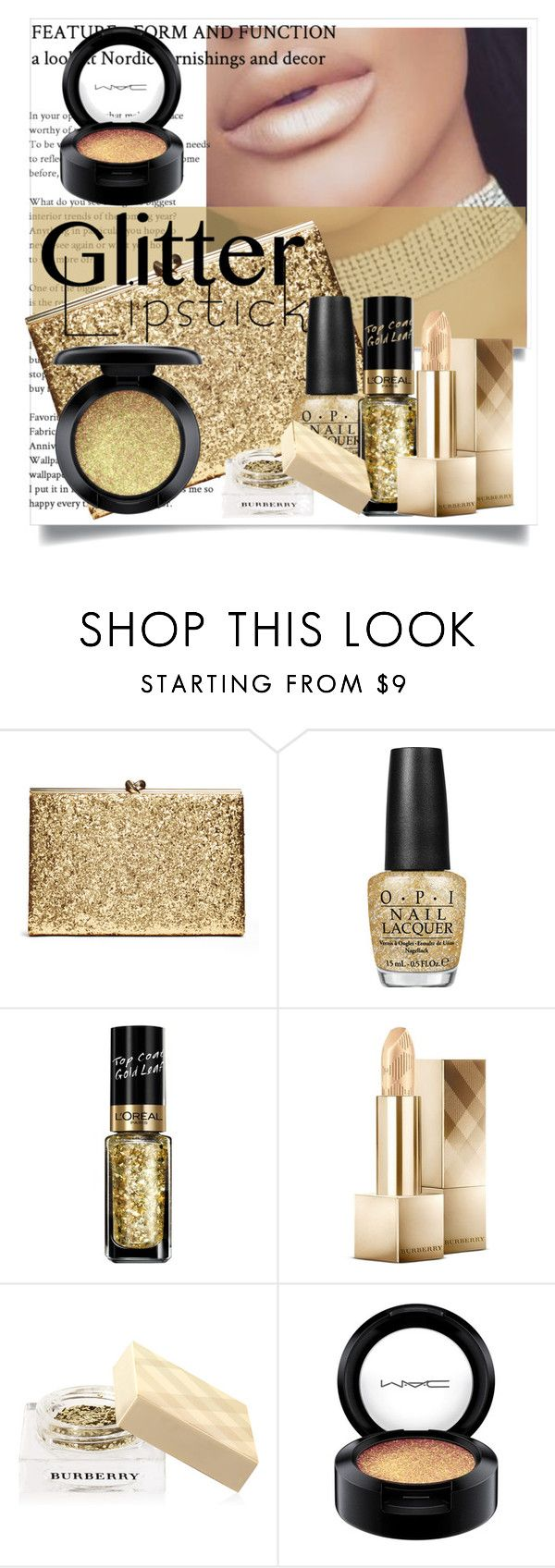 """""""Senza titolo #6179"""" by doradabrowska ❤ liked on Polyvore featuring beauty, OPI, L'Oréal Paris, Burberry, MAC Cosmetics and glitterlips"""