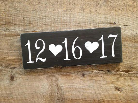 Custom date wood sign rustic wedding date sign anniversary date