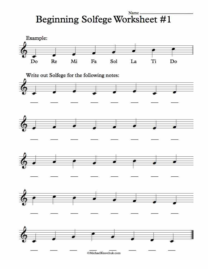 Beginning Worksheet #1 - Solfege Worksheets for Classroom ...