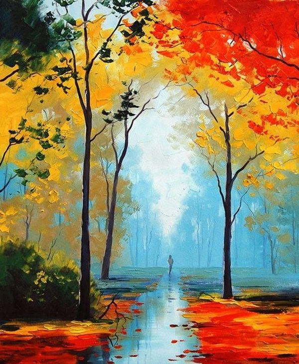 60 Easy And Simple Landscape Painting Ideas Nature Art Painting Nature Paintings Autumn Painting