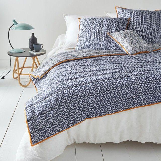 couvre lit matelassé bleu Couvre lit matelassé Amone : motif ethnique pour une inspiration  couvre lit matelassé bleu