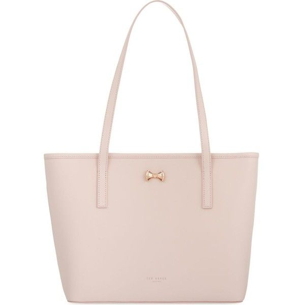 TED BAKER Micro bow small leather shopper (£129) ❤ liked on Polyvore featuring bags, handbags, tote bags, genuine leather tote, leather zipper tote, pink leather handbags, shopping tote bags and leather handbags