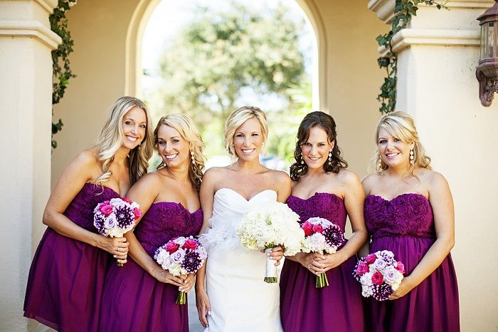 Bold magenta wedding in san clemente ca magenta wedding for Magenta dress for wedding