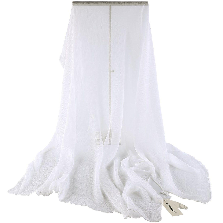 100 Silk Scarf Yoryu Chiffon Slightly Crumpled Long Wrap White C411wfgcc87 Scarf Styles Chiffon Scarf