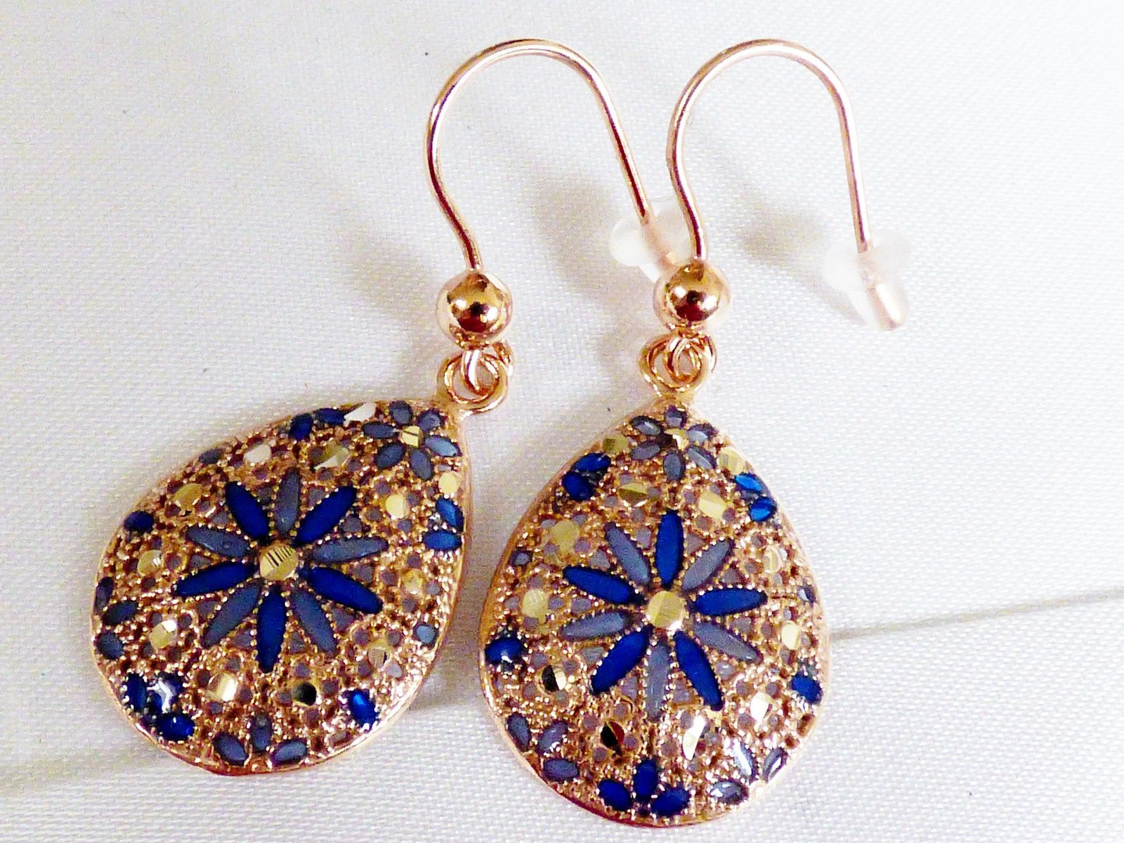 Mia Fiore Rose Gold on Sterling Silver 925 Filigree Blue Floral drop