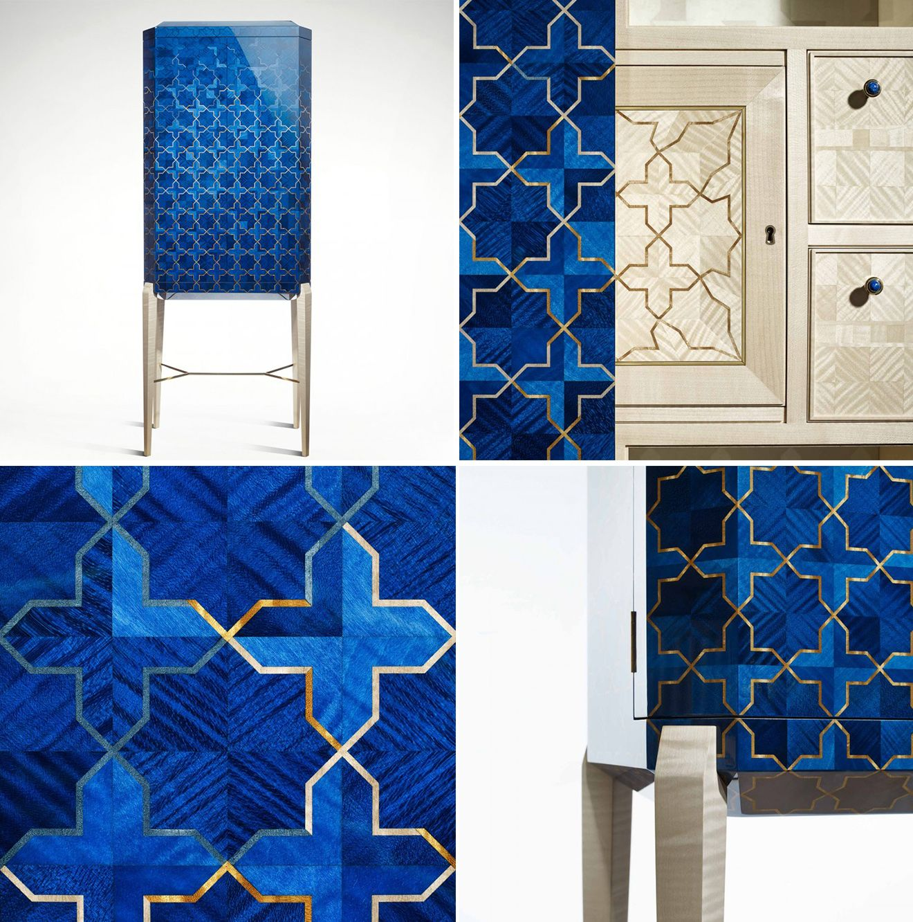 Blue islamic inspired luxury furniture design from LINLEY Girth treasure  chest furniture. LINLEY Launches the Girih Collection Event   Chest furniture
