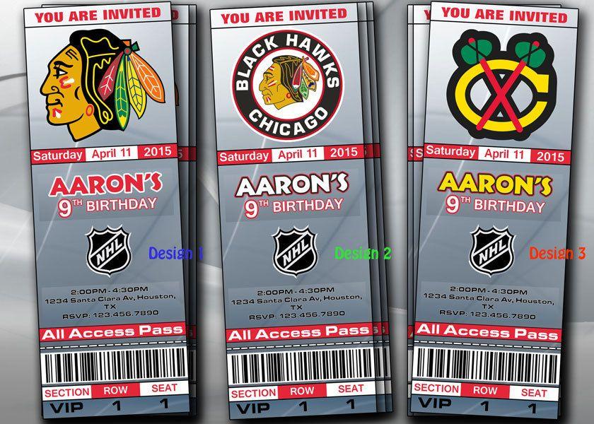 Chicago Black Hawks Ticket Invitations Invite Custom Invitation ...