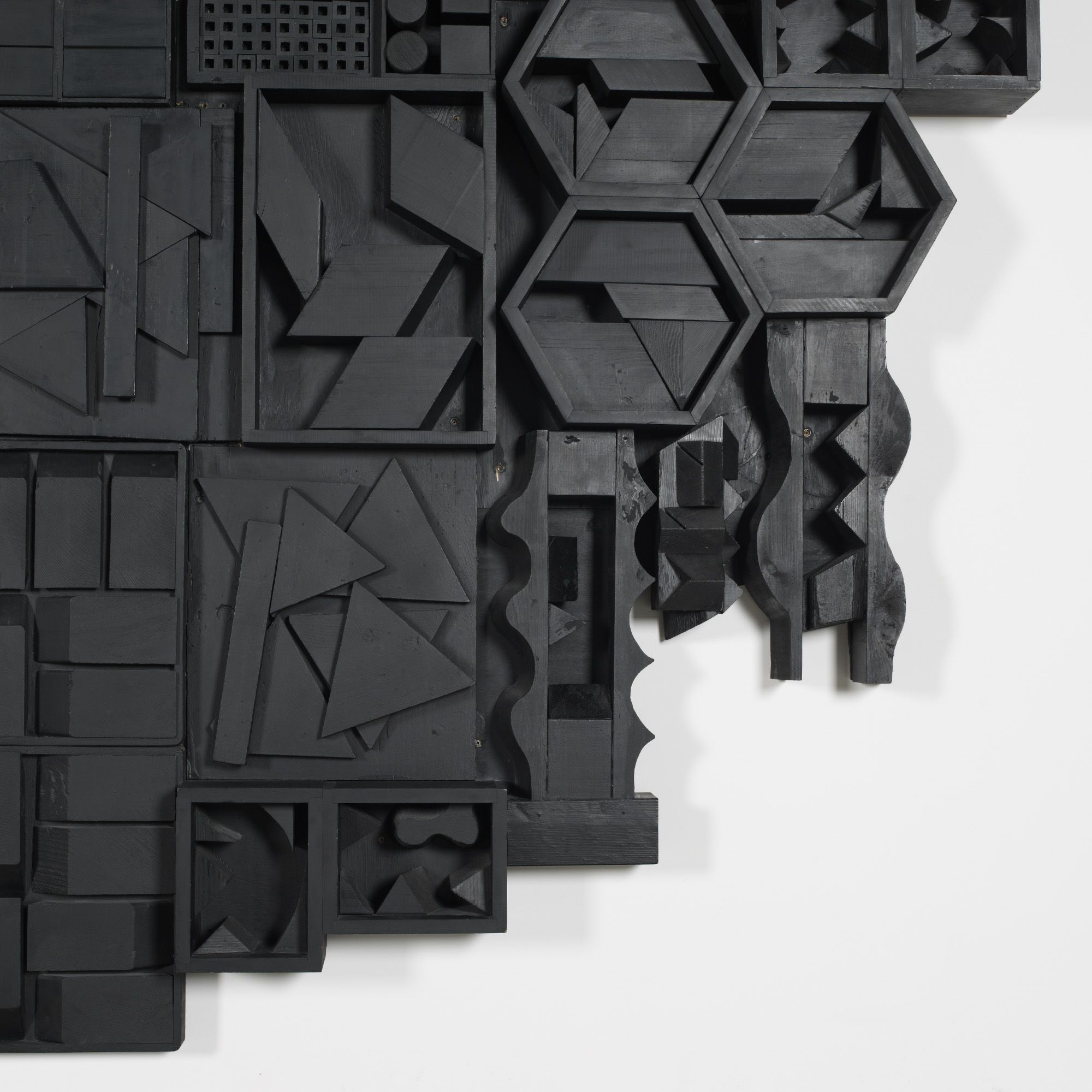 Lot 139: Louise Nevelson 1899–1988. untitled. 1972, lacquered wood construction. 138 h x 139 w x 8 d in. result: $266,500. estimate: $300,000–500,000. Provenance: Private commission for Jay Spectre | Private collection, Colorado | Private collection, New York