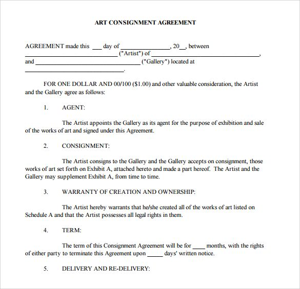 Art Consignment Agreement Template Contracts 4 Studio