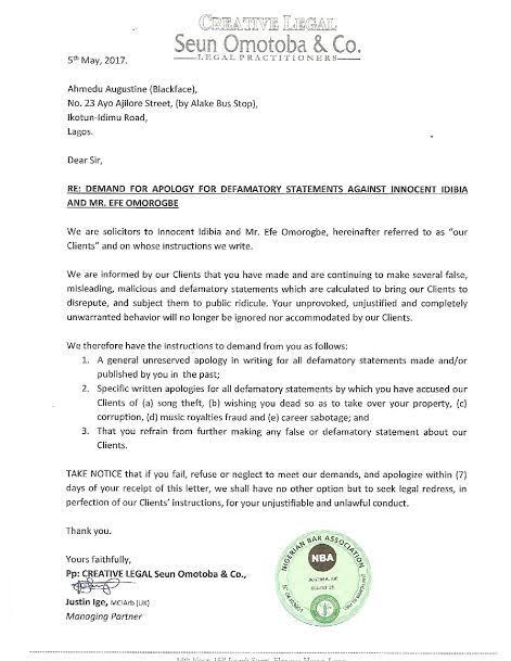 News: See a copy of letter 2face Idibia's lawyers wrote to