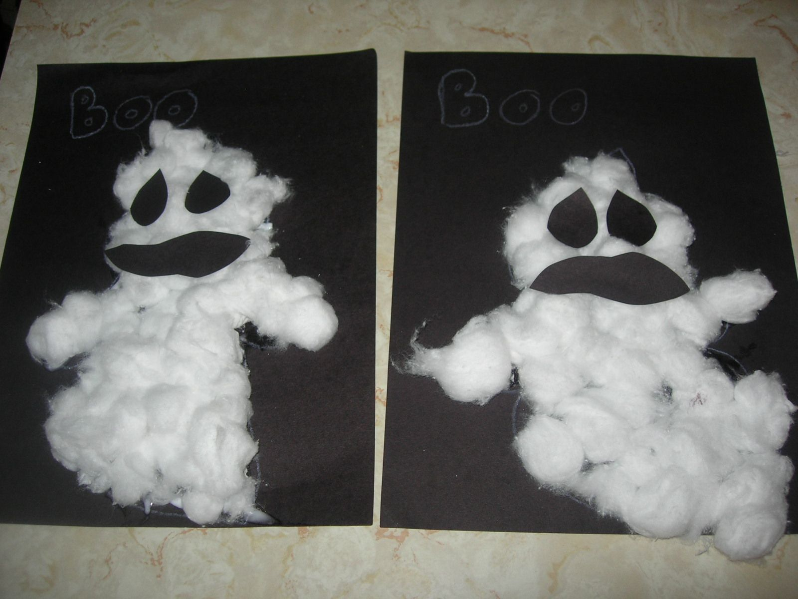preschool crafts for kids easy halloween cotton ball ghosts craft or this would be less messy - Halloween Crafts For Preschoolers Easy