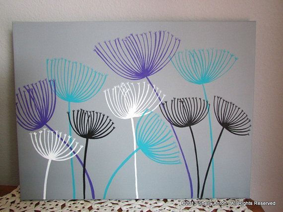 purple and teal paintings | Dandelion Painting in Gray Teal and Purple 12 x 16 by AntonMurals