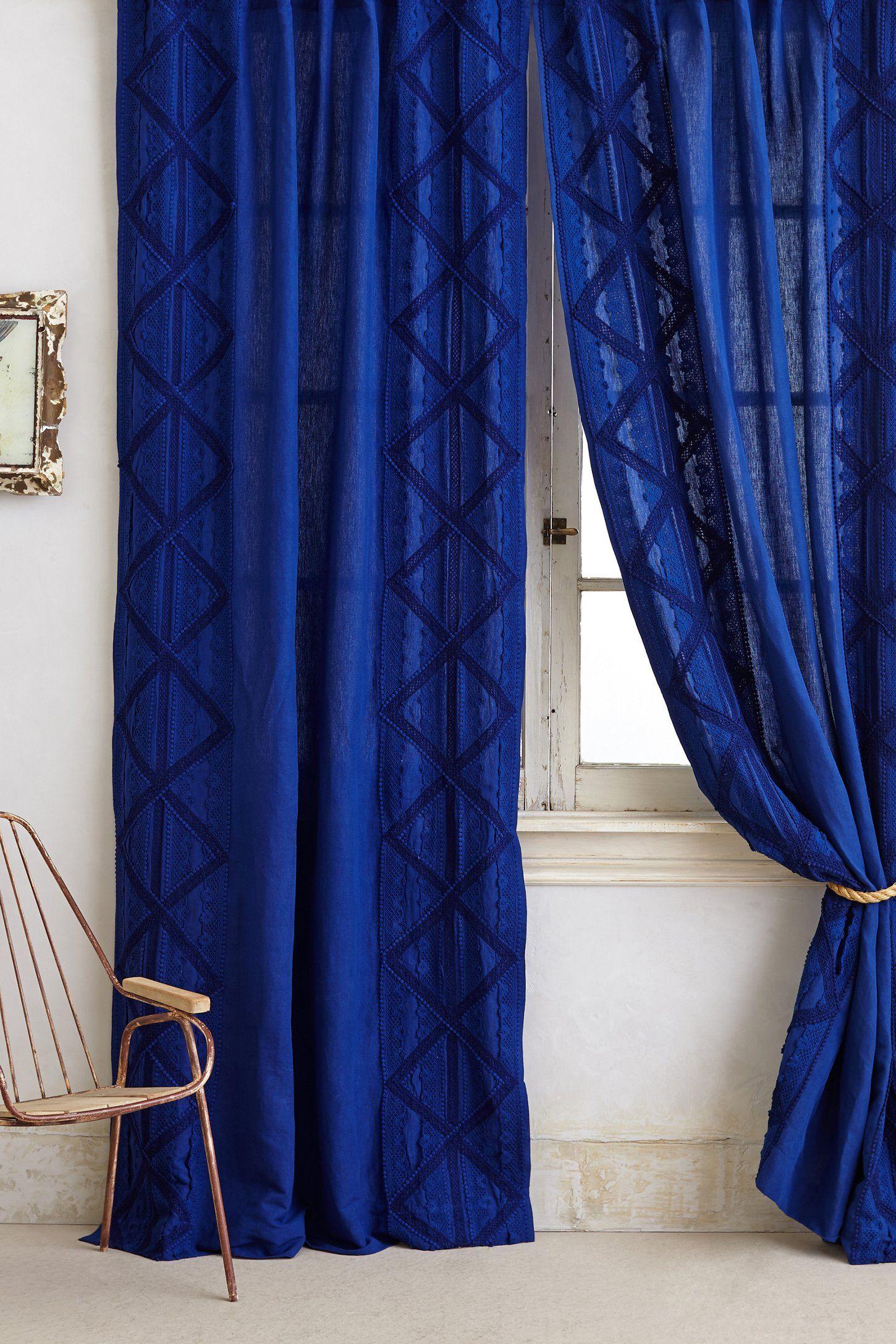 Appliqued Lace Curtain | Royal blue bedrooms, Royal blue ...