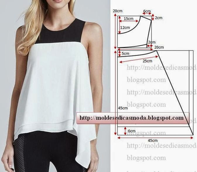 Blusa preta e branca feminina molde passo a passo | Molde, Blusas y ...