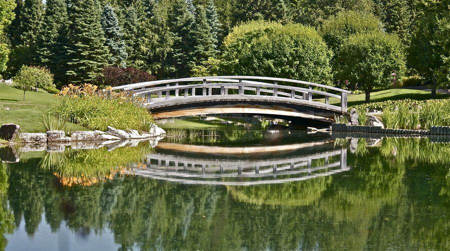 Devonian Gardens Edmonton Alberta Canada Footbridge In The Japanese Gardens Acres Of Peaceful