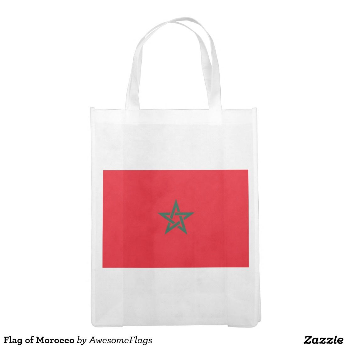 Flag Of Morocco Reusable Grocery Bag Zazzle Co Uk Reusable Grocery Bags Bags Flag