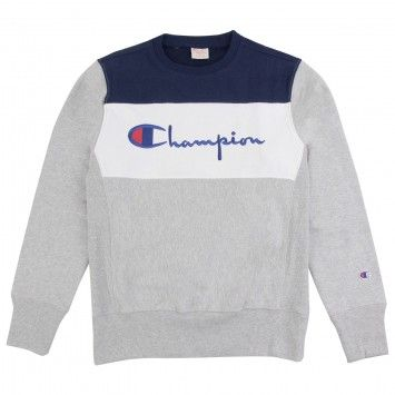 808a2060a Champion 3 Panel Crew Neck Sweatshirt in Oxford Grey / White / Navy ...