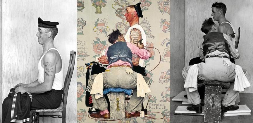 A Norman Rockwell Art Triptych Depicting A Sailor In A Chair Side