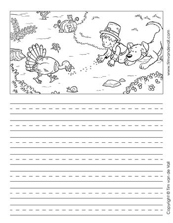 Thanksgiving Story Paper Black And White  Printable Writing Paper