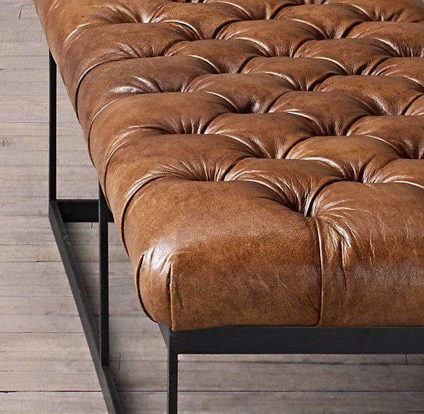 50 Quot Tufted Leather Amp Metal Bench I Love This Look But
