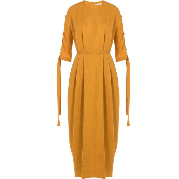 Emilia Wickstead Silk Midi Dress ($924) ❤ liked on Polyvore featuring dresses, yellow, slimming dresses, calf length dresses, silk dress, long-sleeve midi dresses and tie-dye maxi dresses