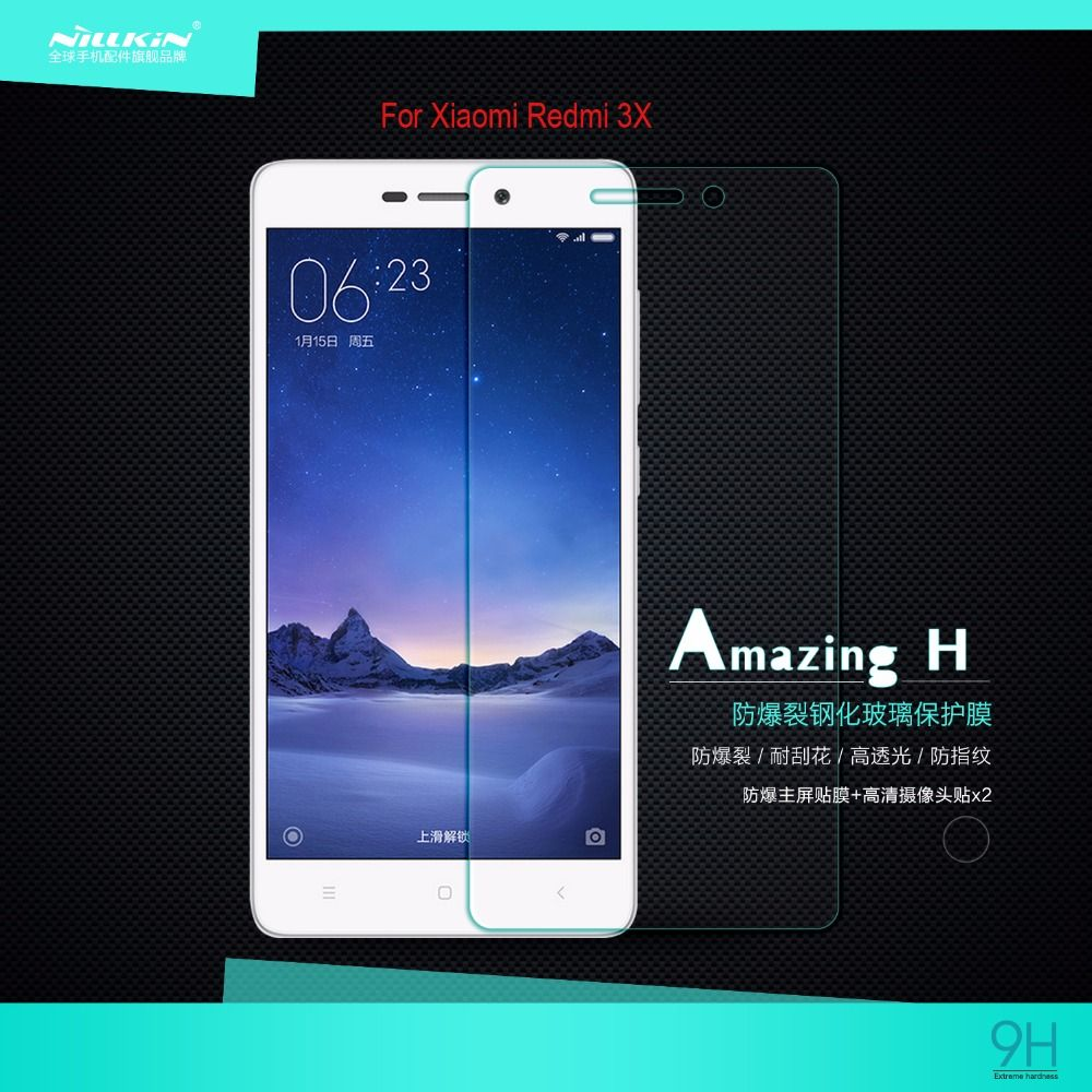 xiaomi redmi 3X Tempered Glass Screen Protector film NILLKIN Amazing H Nanometer Anti-Explosion 9H 0.3mm glass protective film