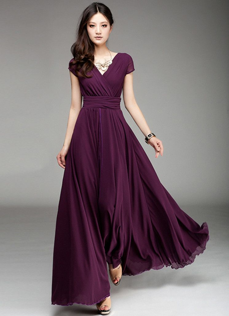 Cap sleeve purple maxi dress with v neck ruched waist