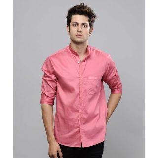 a7eeeae4 Mandarin Collar Men's Pink Shirt   Fashion Love   Mens sleeve ...