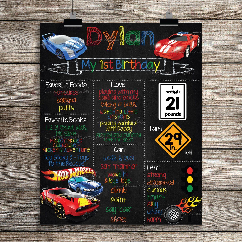 Hot Wheels Theme Birthday Chalkboard Sign Poster Printable - Homemade hot wheels birthday invitations